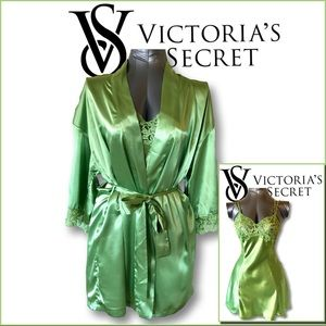 VS Satin Green Robe and Chamise Set